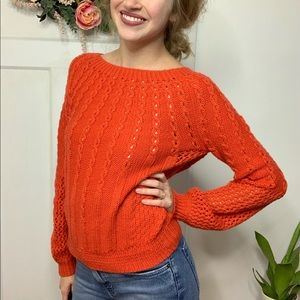 Guinevere Anthropologie Orange Cable Knit Sweater